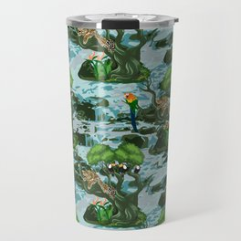 Tropical Rainforest with relaxed Leopard on tree, Macaw and Toucans Travel Mug