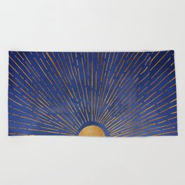 Twilight / Blue and Metallic Gold Palette Beach Towel