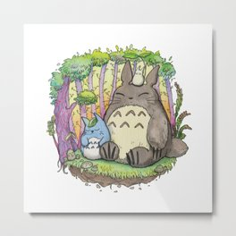 My neighbour Grey Fluffy monster water color Metal Print