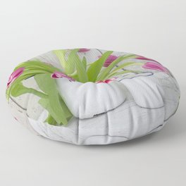 pink spring tulip still life country style Floor Pillow