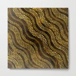 Wavy Tribal  Ethnic Boho Pattern Metal Print