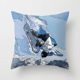Ski over avalanche//snow mountain//Mountain Ski Landscape Blue and White sketch Vibes Throw Pillow
