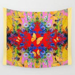 PINK GARDEN BLUE  FLOWERS YELLOW BUTTERFLIES Wall Tapestry