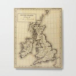 Vintage Map of The British Isles (1850) Metal Print