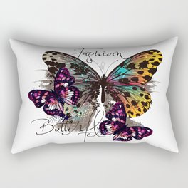 Fashion art print with colorful tropical butterly Rectangular Pillow