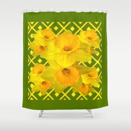 Moss Green Yellow Spring Daffodils Art Shower Curtain