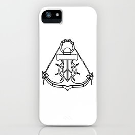 Anchor and Steering Helm [Outline] iPhone Case