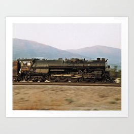 Steam Train Locomotive. Santa Fe 3751. © J. Montague. Art Print