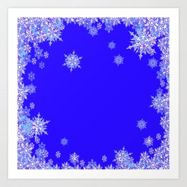 LACEY WHITE SNOWFLAKES HOLIDAY BLUE ART Art Print