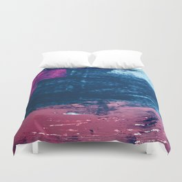 Early Bird [2]: A vibrant minimal abstract piece in blues and pink by Alyssa Hamilton Art Duvet Cover