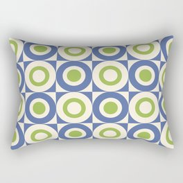Mid Century Square and Circle Pattern 541 Blue and Green Rectangular Pillow