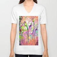 batik V-neck T-shirts featuring BATIK BIRDS by AlyZen Moonshadow