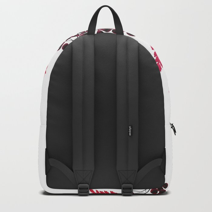 Red flowers on a white background. Backpack