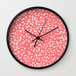 Claudia - abstract minimal coral dot polka dots painterly brushstrokes Wall Clock