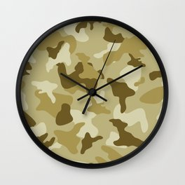 Yellow sand camo camouflage army pattern Wall Clock