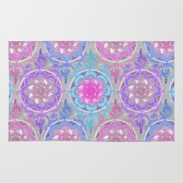 Pink, Purple and Turquoise Super Boho Doodle Medallions Rug