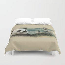 Panda meditating Duvet Cover