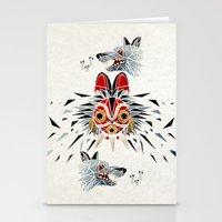 princess mononoke Stationery Cards featuring mononoke princess by Manoou