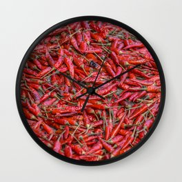 Dried red chillis Wall Clock