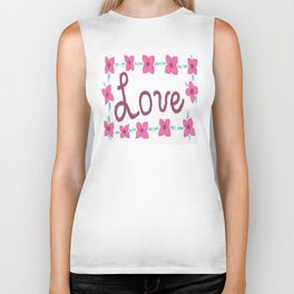Love- Hand Lettered with Flowers Biker Tank