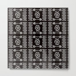 Mudcloth No.4 in Black + White Metal Print