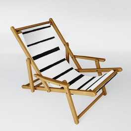 Black and White Rough Organic Stripes Sling Chair