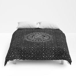 Silver Metallic Valknut Symbol on Celtic Pattern Comforters