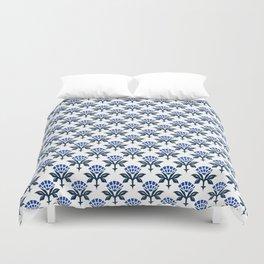Ajrak Woodblock Floral Print in Blue Duvet Cover