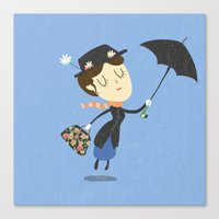 mary poppins Canvas Prints featuring Mary Poppins by Rod Perich