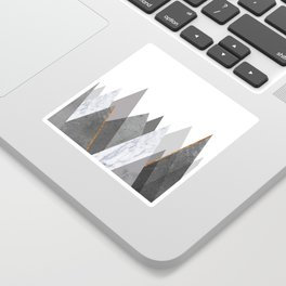 Marble Gray Copper Black and White Mountains Sticker