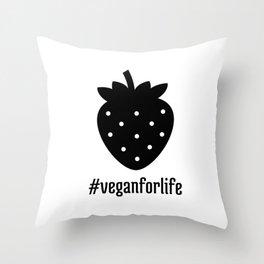 Vegan Strawberry Throw Pillow