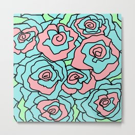 Doodle Art Flower Roses - Aqua Pink Metal Print