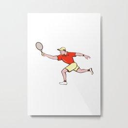 Tennis Player Racquet Forehand Cartoon Metal Print