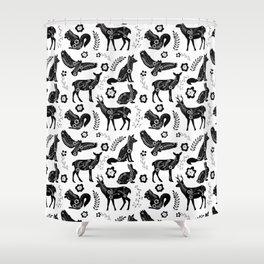 Folk Art Forest Animals Shower Curtain