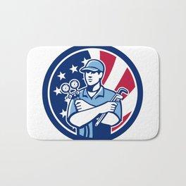 American Air-Con Serviceman USA Flag Icon Bath Mat
