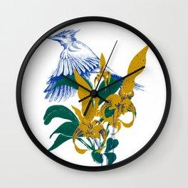 Midnight blooms - Asian paradise fly catcher bird Wall Clock
