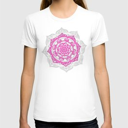 Pink Mandala on Linen T-shirt