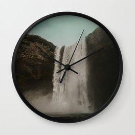Iceland Waterfall x Skógafoss Wall Clock