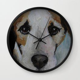 Original art work, oil painting, animal, dog jackrussell Wall Clock