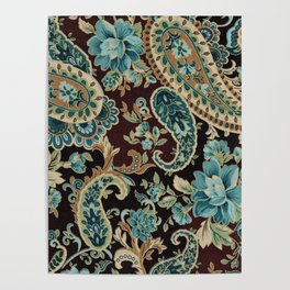 Brown Turquoise Paisley Poster