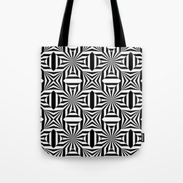Black and white op art pattern with stars and striped lines Tote Bag