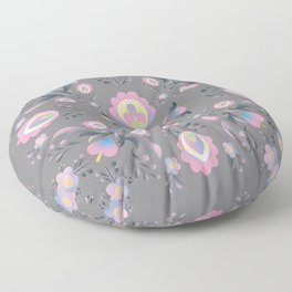 Folk Flowers in Pink and Grey Floor Pillow