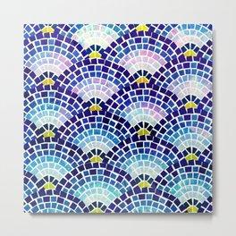 Mosaic Fan in Blue Pattern Metal Print
