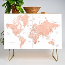 """Rose gold world map with cities, """"Hadi"""" Credenza"""