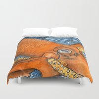 kraken Duvet Covers featuring Kraken by Amy Nickerson