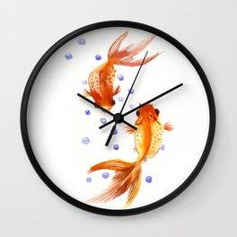 Goldfish, two fish, Koi Asian Style watercolor art Wall Clock