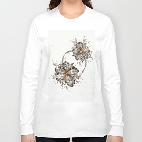 Abstract Floral line art Long Sleeve T-shirt