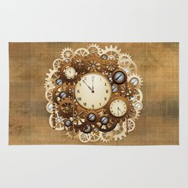 steampunk vintage style clocks and gears rug