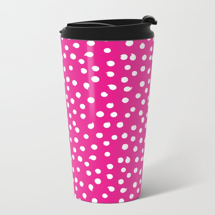 Simply White Dots Polkadots on pink background - Mix & Match Metal Travel Mug