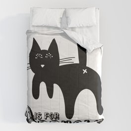 A is for ASSHOLE Cat design grunge font Comforters